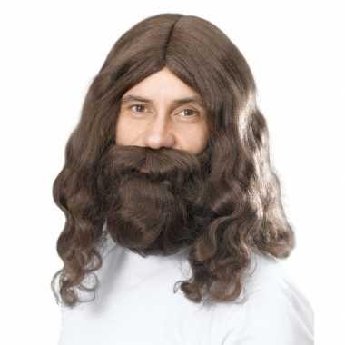 Goedkope baard pruik bruin lang haard