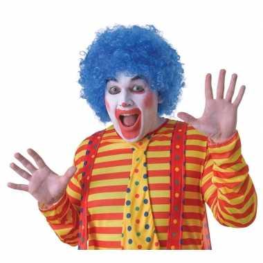 Goedkope blauwe clownspruik volwassenen