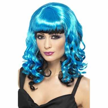 Goedkope  Blauwe dames pruik krullen