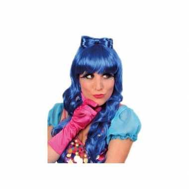 Goedkope  Blauwe damespruik haarstrik