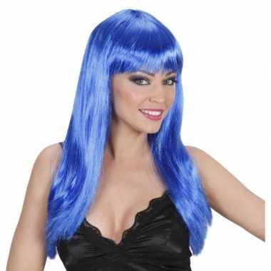 Goedkope  Blauwe pruik stijl haar pony