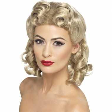 Goedkope blonde dames pruik krullen