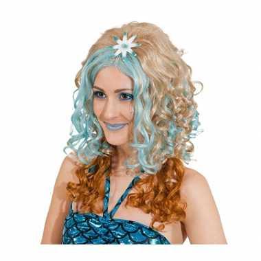 Goedkope blonde damespruik blauwe plukken