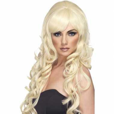 Goedkope blonde damespruik lang krullen