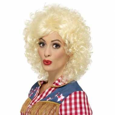 Goedkope blonde dolly korte pruik krullen dames