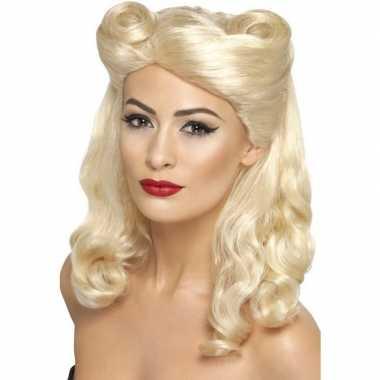 Goedkope blonde jaren pruik dames