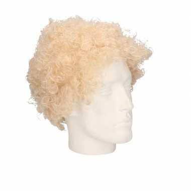 Goedkope blonde krullenpruik volwassenen