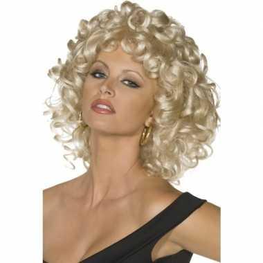 Goedkope blonde sandy grease pruik dames