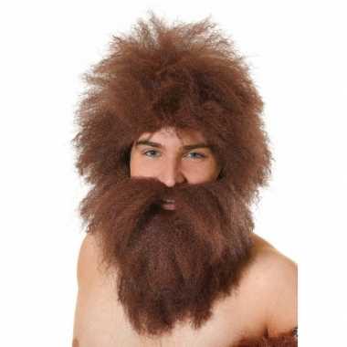 Goedkope  Bruin/rode ruige baard pruik
