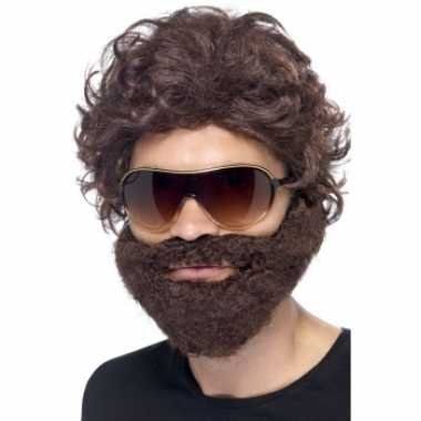 Goedkope  Bruine baard pruik zonnebril