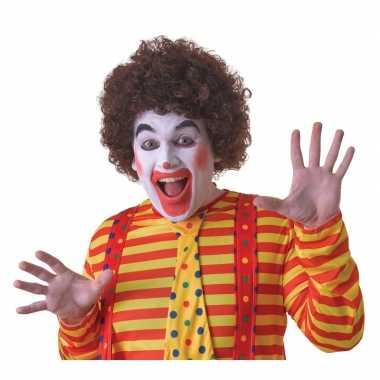Goedkope bruine clownspruik volwassenen