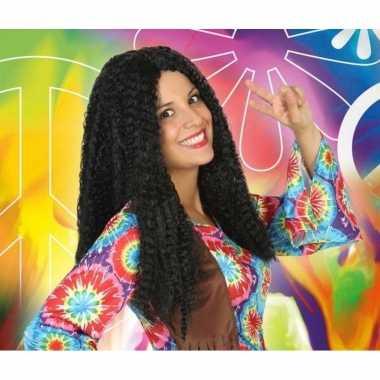 Goedkope bruine hippie / flower power verkleed pruik dames
