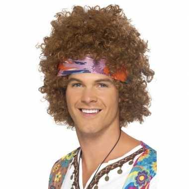Goedkope bruine hippie pruik haarband heren