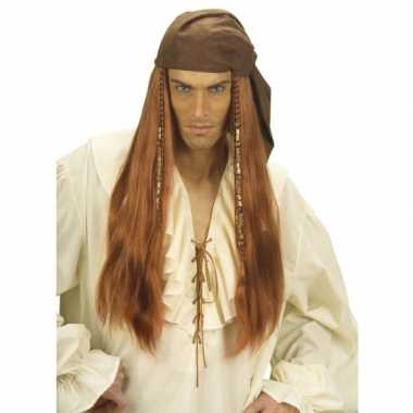 Goedkope  Bruine piraten pruik lang haar
