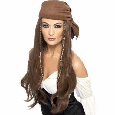 Goedkope bruine piratenpruik bandana dames