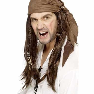 Goedkope bruine piratenpruik bandana heren