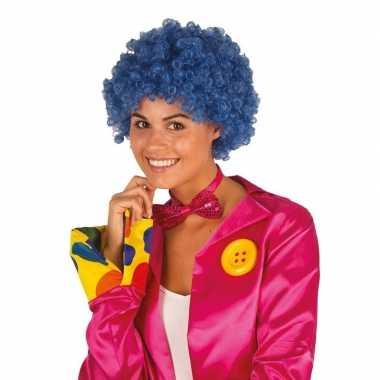Goedkope clownspruik blauwe krulletjes verkleed accessoire