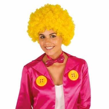 Goedkope clownspruik gele krulletjes verkleed accessoire