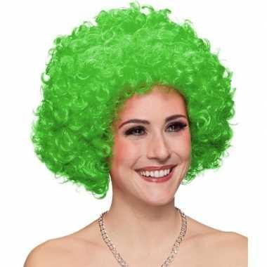 Goedkope clownspruik groene krullen volwassenen