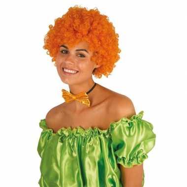 Goedkope clownspruik oranje krulletjes verkleed accessoire