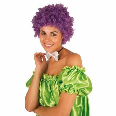 Goedkope clownspruik paarse krulletjes verkleed accessoire