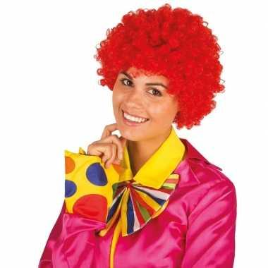 Goedkope clownspruik rode krulletjes verkleed accessoire