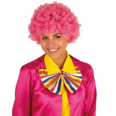 Goedkope clownspruik roze krulletjes verkleed accessoire