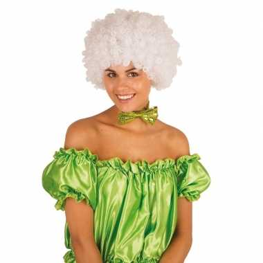 Goedkope clownspruik witte krulletjes verkleed accessoire