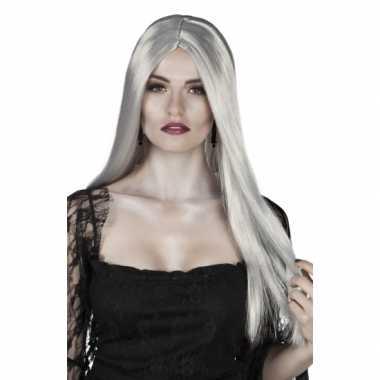 Goedkope dames pruik lang grijs stijl haar