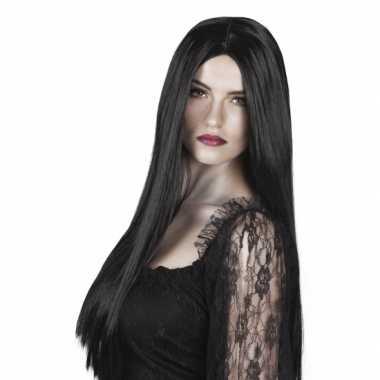 Goedkope  Dames pruik lang zwart stijl haar