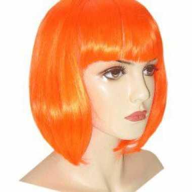 Goedkope  Dames supporters pruik oranje