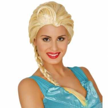 Goedkope dames verkleedpruik blond lange vlecht