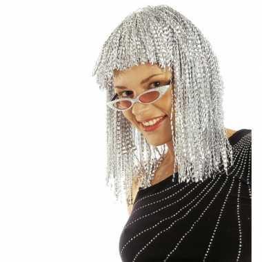 Goedkope  Damespruik zilver halflang