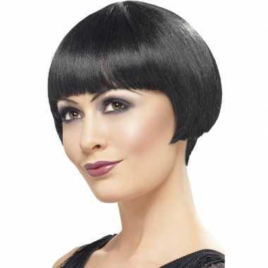Goedkope  Damespruik zwart kort haar