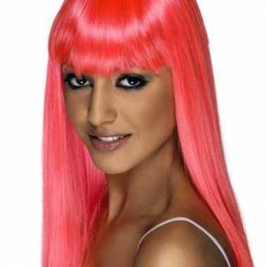 Goedkope damespruiken roze lang haar