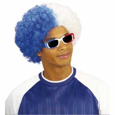 Goedkope fan pruik wit blauw
