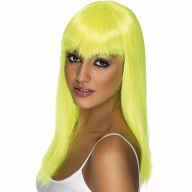 Goedkope  Fel gele dames pruik pony