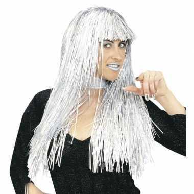 Goedkope  Glamour damespruik folie zilver