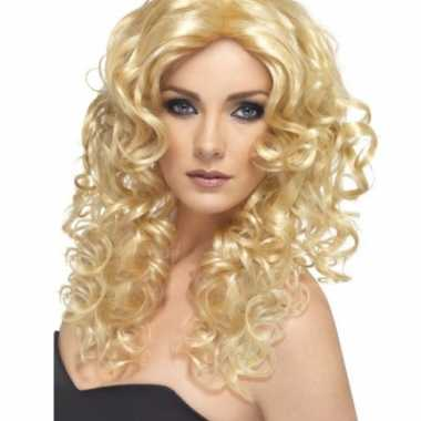Goedkope  Golvende dames pruik blond