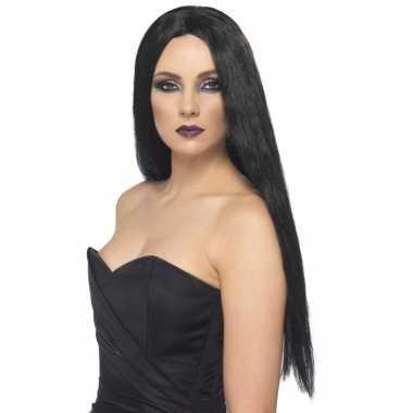 Goedkope  Gothic zwarte damespruik