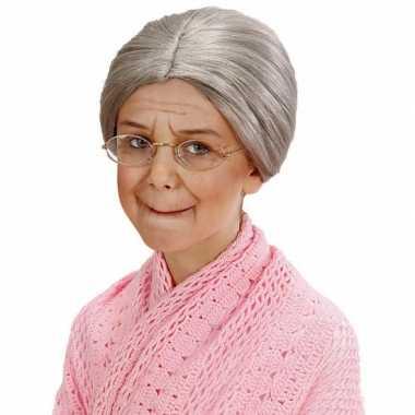 Goedkope  Grijze grootmoeder pruik knotje kids