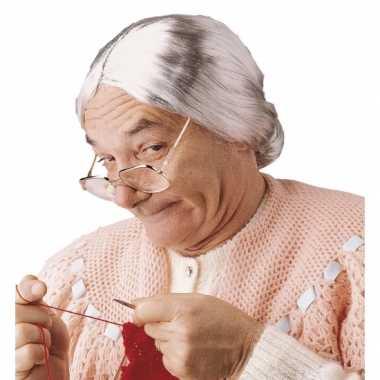 Goedkope  Grijze grootmoeder pruik knotje