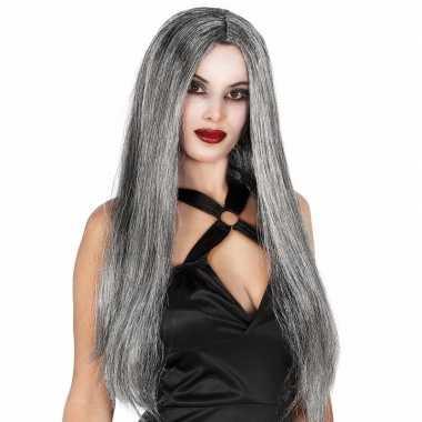 Goedkope grijze heksen damespruik lang haar