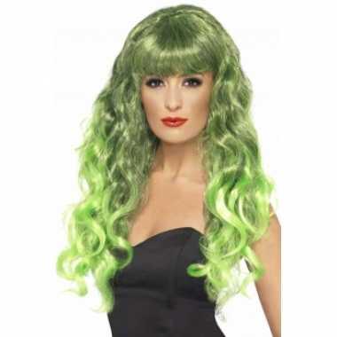 Goedkope  Groene feestpruiken dames krullend
