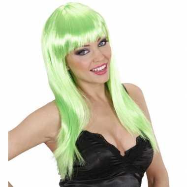 Goedkope  Groene pruik lang stijl haar