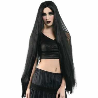 Goedkope halloween extreem lange zwarte heksen pruik