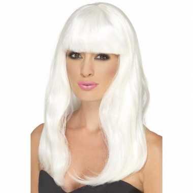 Goedkope halloween glow the dark witte pruik lang haar