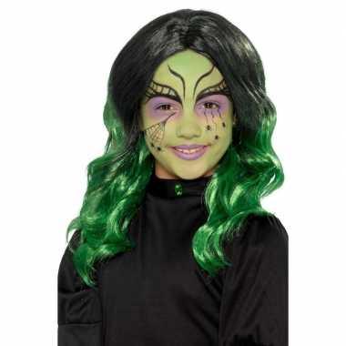 Goedkope halloween lange zwart groene meisjespruik krullen