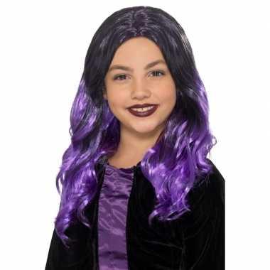 Goedkope halloween lange zwart paarse meisjespruik krullen