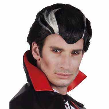 Goedkope halloween vampier herenpruik zwart wit